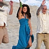 Selena Gomez put her bouquet in the air.