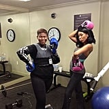 Even after a sweaty cardio kickboxing session, Brandy still managed to look amazing.