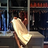 Victoria Beckham took to her closet to check out some of her latest designs. Source: Twitter user VBeckhamNews