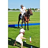 Skyler Berman practiced his polo moves with the professionals in the Hamptons. Source: Instagram user rachelzoe