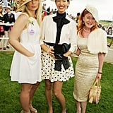 Finalists in the What Best to Wear best dressed contest posed during Ladies Day at the Epsom Derby.