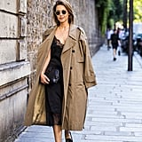 Cover Your Lightweight Slip With a Long Trench and Loafers, Rather Than Nothing at All