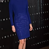 Charlize Theron in a blue dress at the Paris Prometheus premiere.