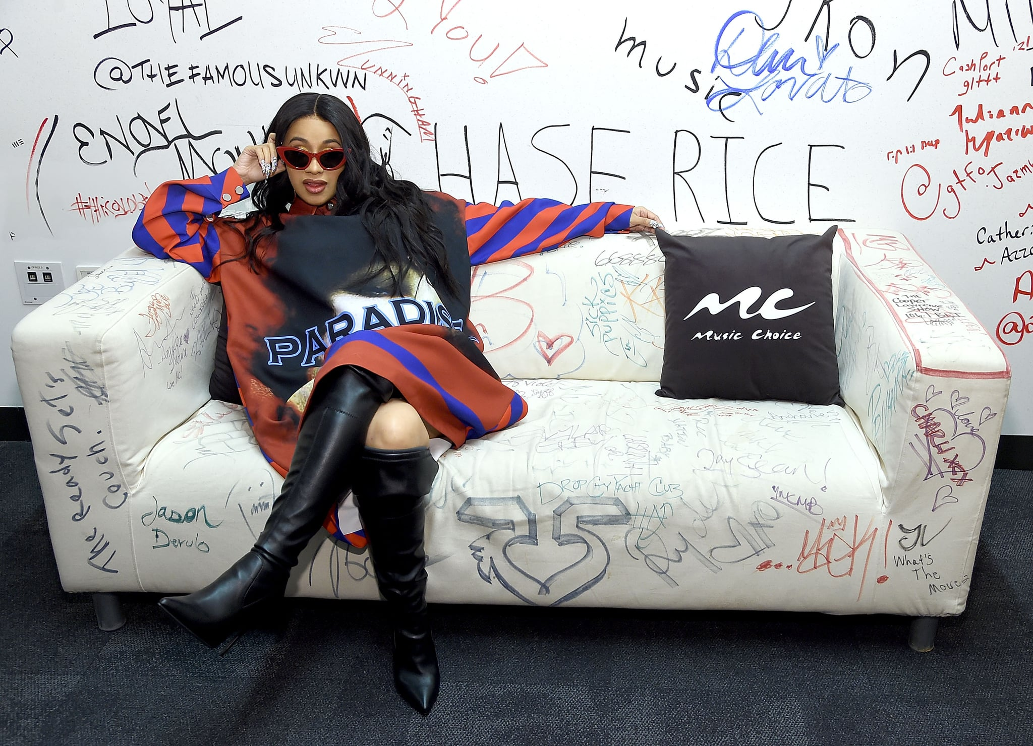 NEW YORK, NY - APRIL 10:  Cardi B visits Music Choice at Music Choice on April 10, 2018 in New York City.  (Photo by Jamie McCarthy/Getty Images)