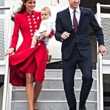 During Kate and Prince William's tour of Australia and New Zealand in 2014, she picked a red coat dress by Catherine Walker.