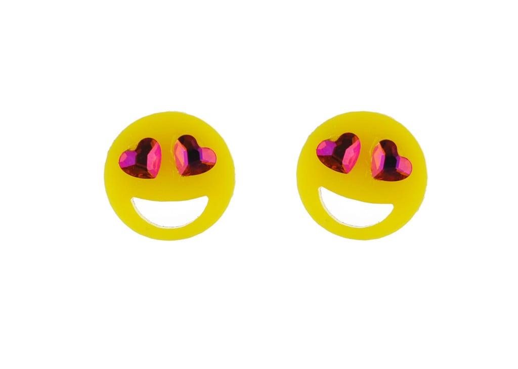 Crystal Heart Eyes Emoji Studs