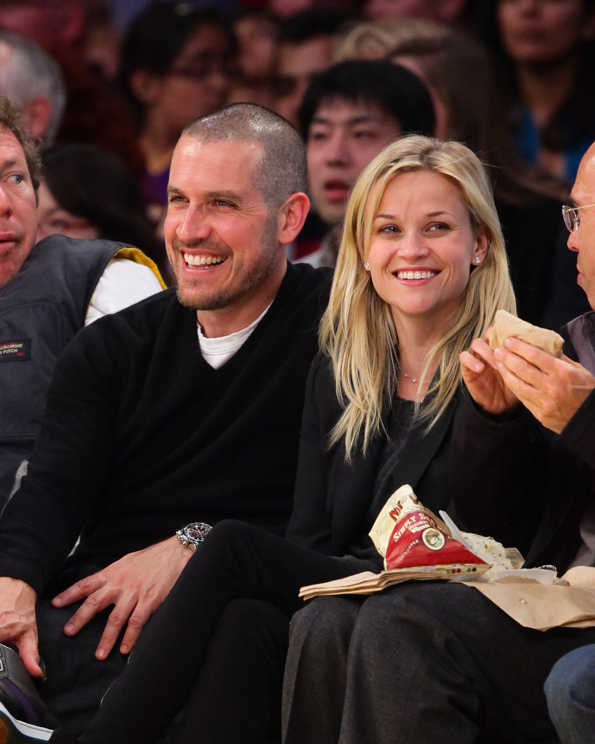 Engaged Reese Witherspoon And Jim Toth Join David Beckham Courtside At Lakers Game