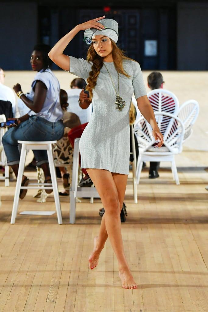Watch Gigi Hadid Tip-Toe Down the Runway Barefoot at NYFW