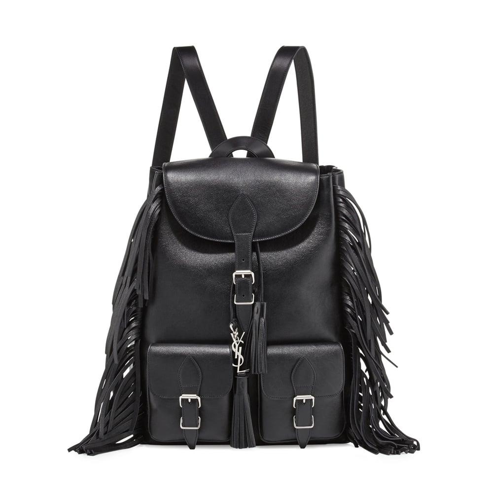 bbe908f5 Saint Laurent Festival Leather Medium Fringe Backpack, Black ($1,990 ...