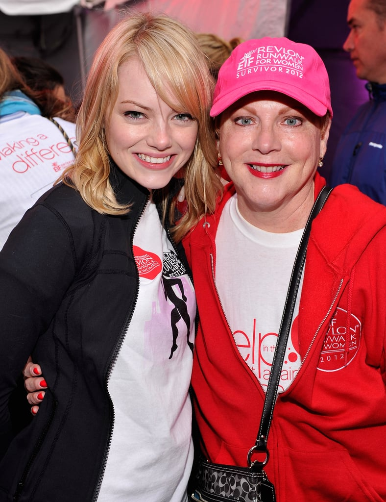 Emma Stone and her mum, Krista, smiled together while attending the Revlon Run/Walk For Women in NYC in May 2012.