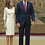 Queen Letizia Wearing a White Dress September 2016