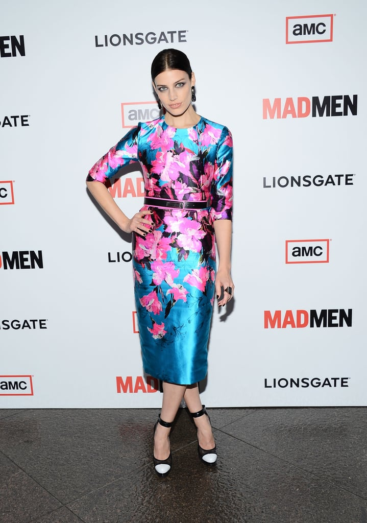 Jessica Paré was Spring-perfect in a floral sheath at Mad Men's season six premiere.