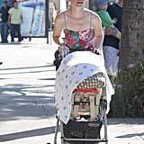 Elizabeth Banks walked around LA with Magnus on Sunday.