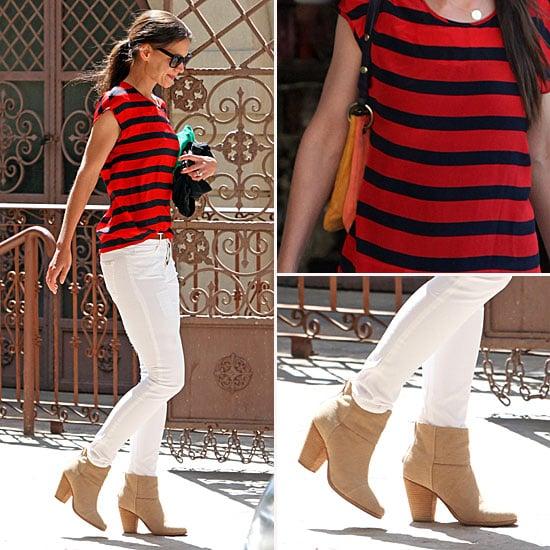 Katie Holmes White Jeans April 5, 2012