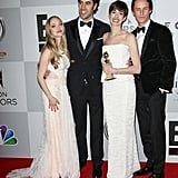 Amanda Seyfried and Sacha Baron Cohen posed with Anne Hathaway and Eddie Redmayne.