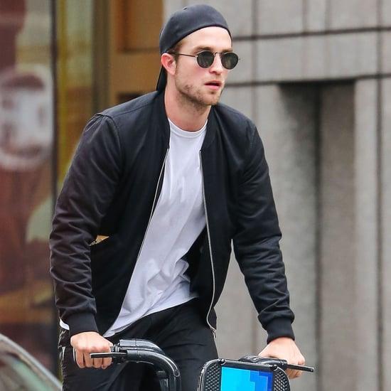 Robert Pattinson Riding His Bike in NYC