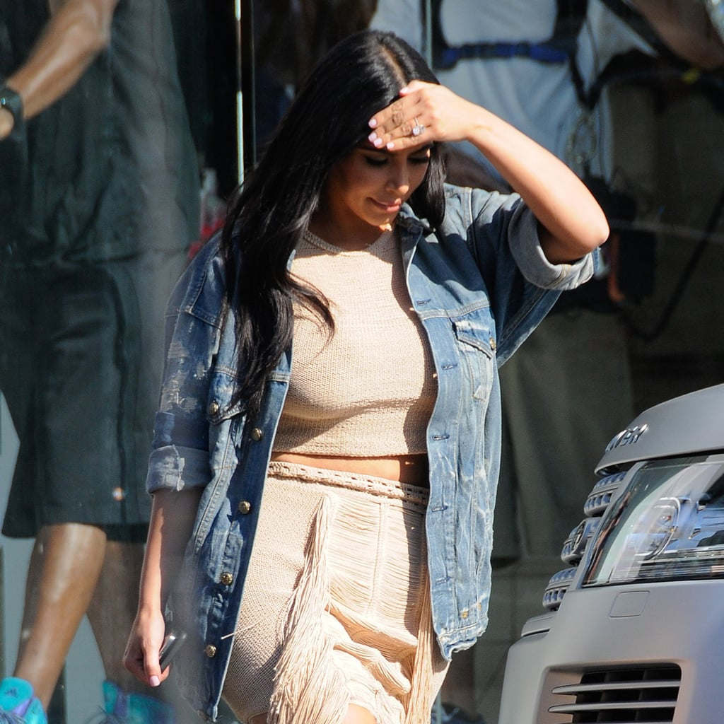 Kim Kardashian Put Her Baby Bump on Display in Fringe and a Crop Top