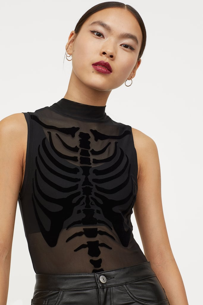 H&M Flock-Print Mesh Bodysuit