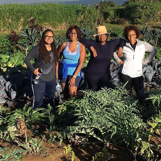Oprah doesn't just go on a hike! She hikes for veggies.