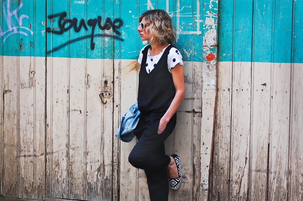 A quirky update on the jumpsuit with a pair of printed espadrilles and a polka-dot tee. Source: Lookbook.nu