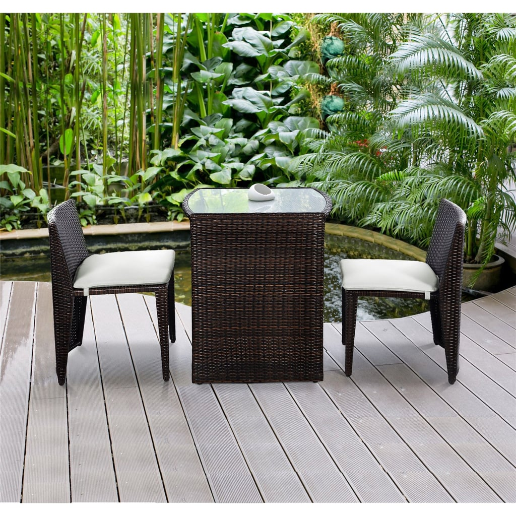 Costway Wicker 3-Piece Small Space Outdoor Bistro Set With Cushions