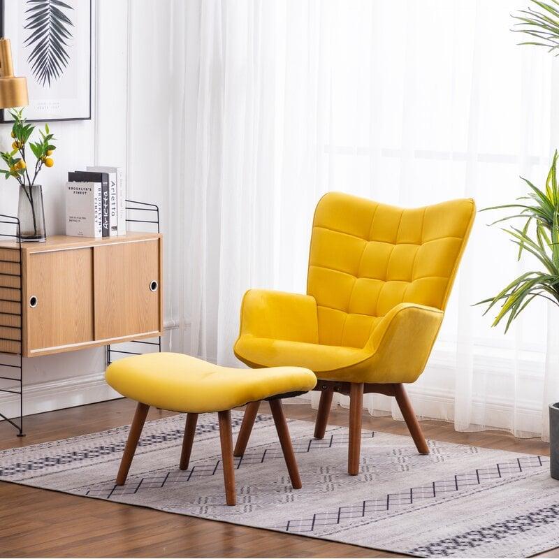 Zena Silky Velvet Armchair and Ottoman