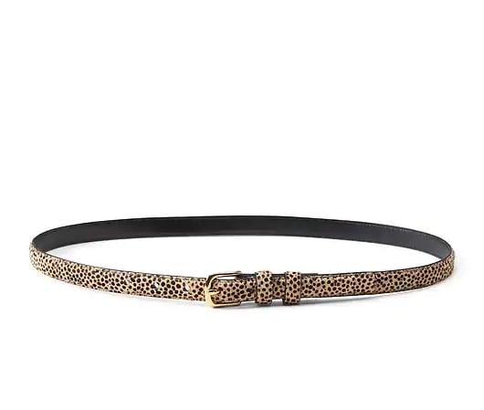 Cheetah Print Haircalf Leather Belt