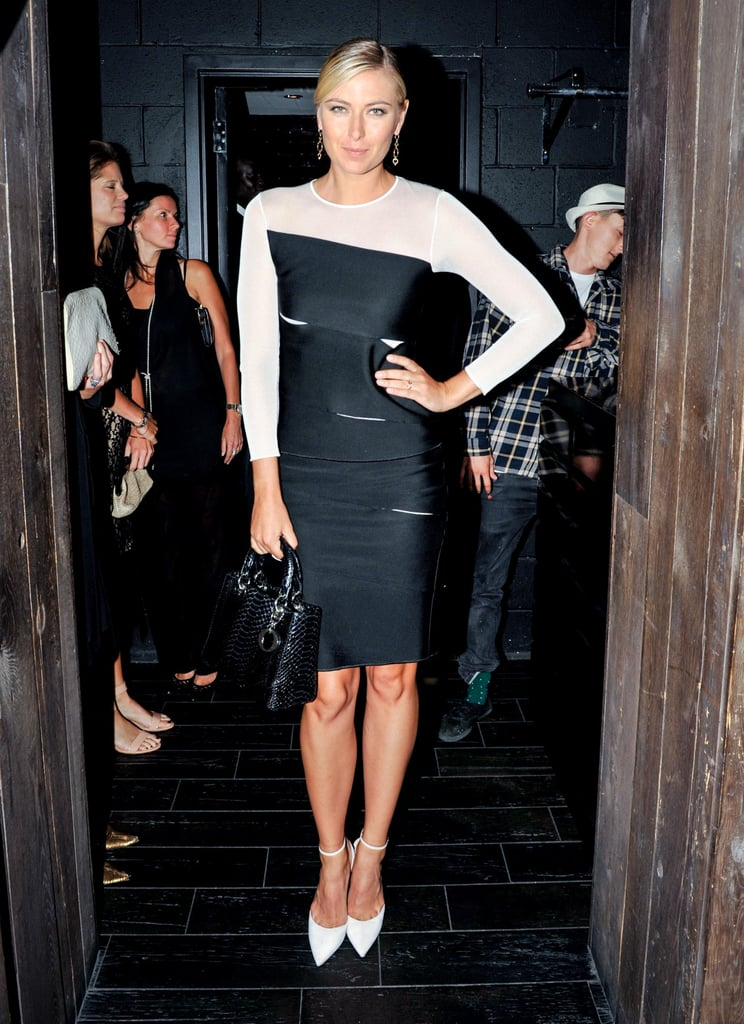 At the Jason Wu afterparty, Maria Sharapova got glam in a black-and-white sheer dress and white ankle-strap pumps.