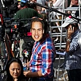 One cameraman put a Prince William mask on his equipment to get in the royal baby spirit.