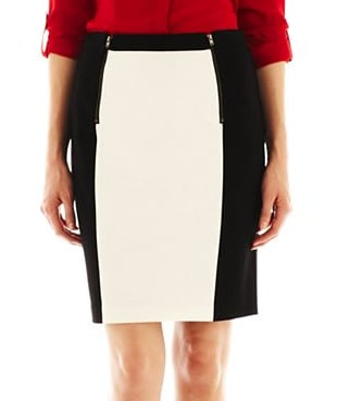 This MNG by Mango colorblock pencil skirt ($40) slims the hips with colorblocking — genius.