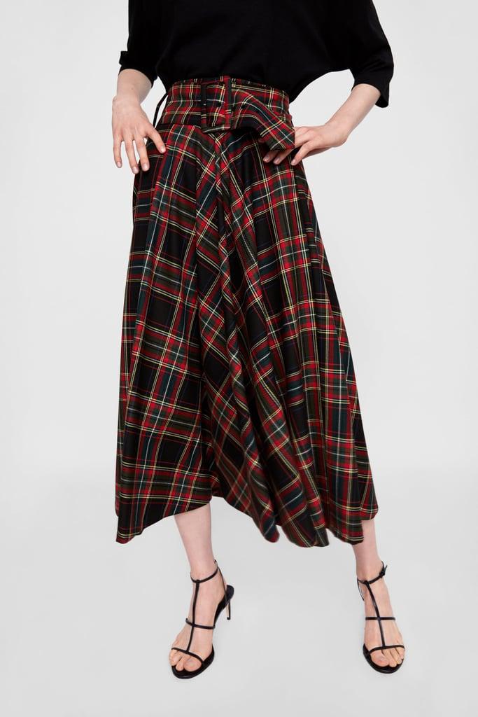 Zara Plaid Midi Skirt