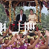 Prince William and Kate Middleton were carried in an elevated hut upon arriving in Tuvalu.