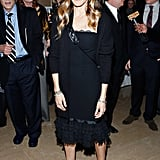 Sarah Jessica Parker donned a chic black palate at The Arts Lifetime Achievement Awards in NYC. She paired a little black dress with a ruffled lace hemline with black Jean-Michel Cazabat pumps and a quilted crossbody bag.