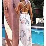 FFLMYUHULIU Strap Floral Backless Dress