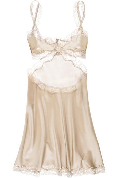 The sexy cutouts are tempered by creamy lace and the flowy shape. This is ideal for a honeymoon, too. Stella McCartney Clara Whispering chemise ($300)