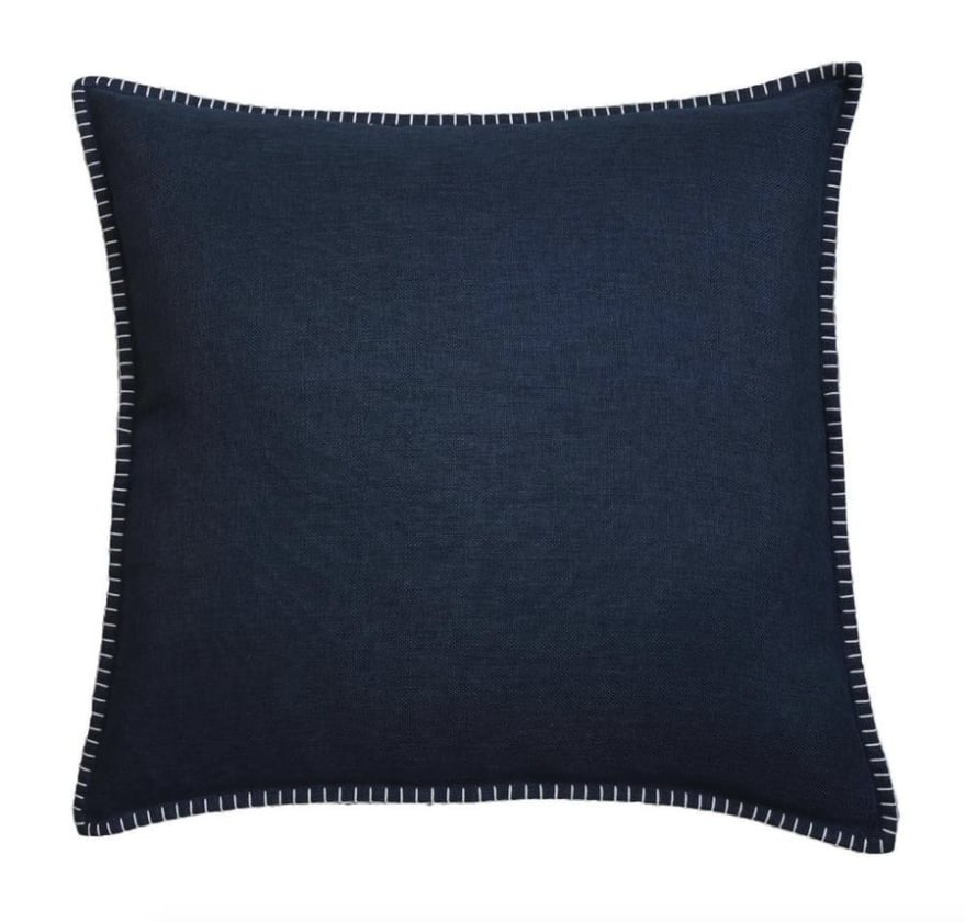 allen + roth Bijou Blue Faux linen Square Indoor Decorative Pillow