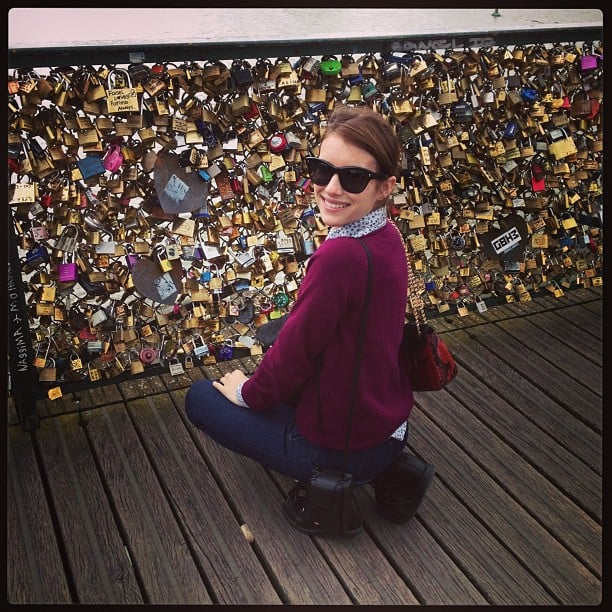 "Emma Roberts took in the ""Love Locks"" installation during her visit to Paris. Source: Instagram user emmaroberts6"