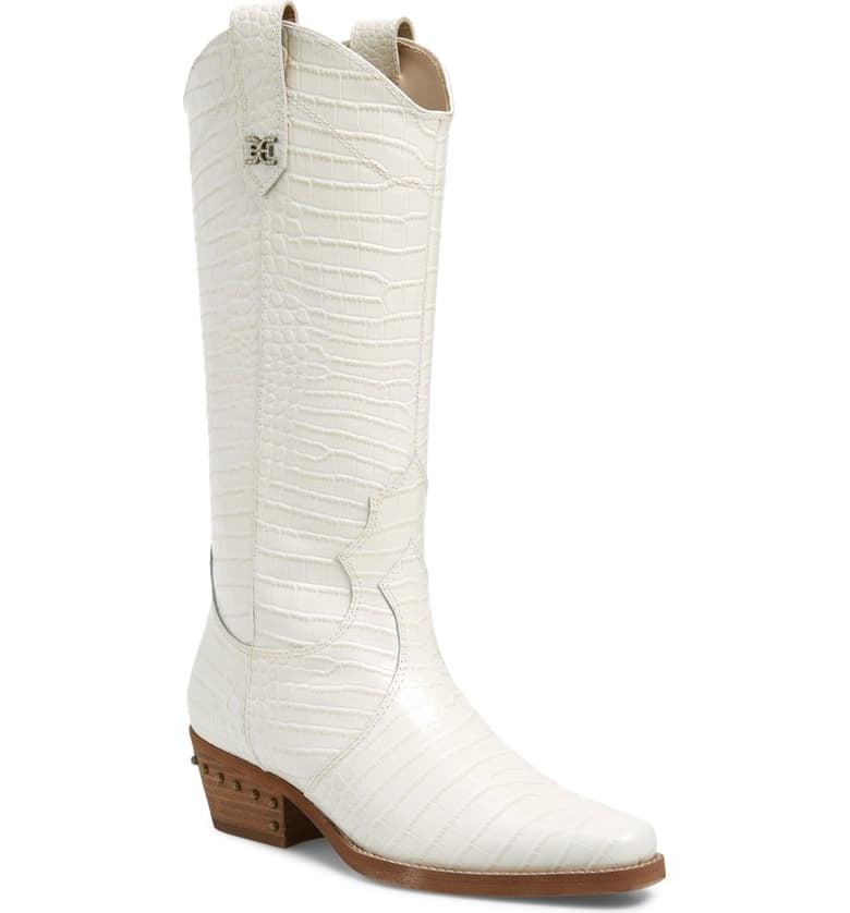 Sam Edelman Oakland Croc-Embossed Western Boots