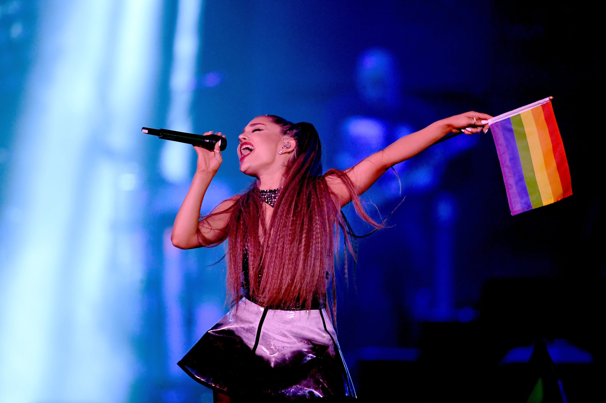 LOS ANGELES, CA - JUNE 02:  (EDITORIAL USE ONLY. NO COMMERCIAL USE) Ariana Grande performs onstage during the 2018 iHeartRadio Wango Tango by AT&T at Banc of California Stadium on June 2, 2018 in Los Angeles, California.  (Photo by Kevin Winter/Getty Images for iHeartMedia)
