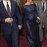 Meghan in a Navy Sequin Gown