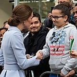 During her first solo tour in October 2016, Kate shook hands with a young girl in the Netherlands.