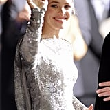 Rachel McAdams waved at fans.
