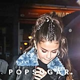 Selena Gomez Leather Jacket Blue Collar