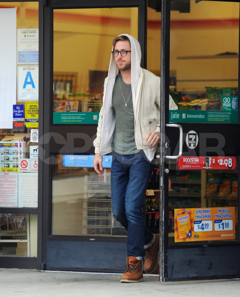 """Ryan Gosling stopped to stock up on snacks yesterday at a 7-11 in LA before catching a flight out of LAX. The actor has been jet-setting around the globe to talk up his two new movies Drive and Crazy Stupid Love. The first film brought Ryan to Cannes, where director Nicolas Winding Refn took home honors for his work behind the lens. Ryan costars in Drive with Carey Mulligan, and she recently spoke about the joys of shooting with such a handsome guy. Carey said of working with Ryan, """"He is such a blast. He's 100 percent up for anything. Nick, the director, and Ryan were like best friends the whole time. I mainly just stare at Ryan for like two hours in the film. Someone's gotta do it."""" Ryan's jaunt out of California may be a short one, as his and Carey's movie will have another premiere Friday during the LA Film Festival."""