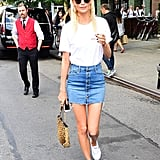 Poppy Delevingne Wore a Vintage Tee With a Denim Mini Skirt
