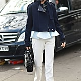Smart separates look a little more fashion conscious with sneakers-of-the-moment to finish them off, à la Leandra Medine.  Source: Tim Regas