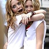 Mary-Kate Olsen and Ashley Olsen had fun on set filming New York Minute in 2003.