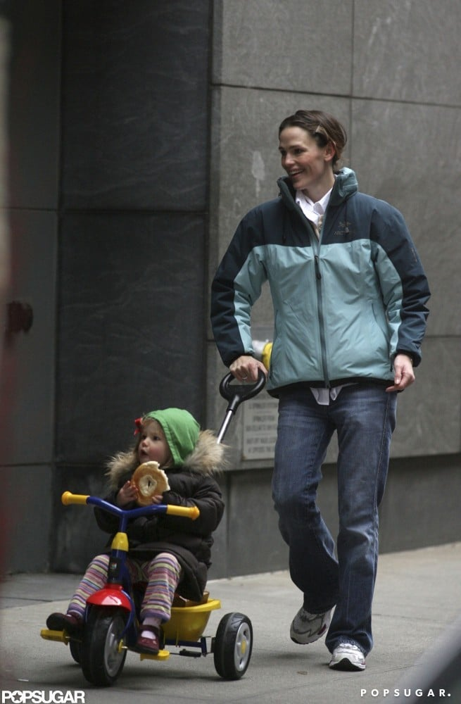 Jennifer Garner pushed Violet Affleck along in a stroller during a trip to Boston in December 2007.