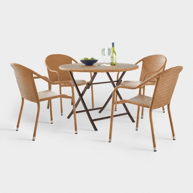 Natural All Weather Pinamar Outdoor Cafe Dining Set