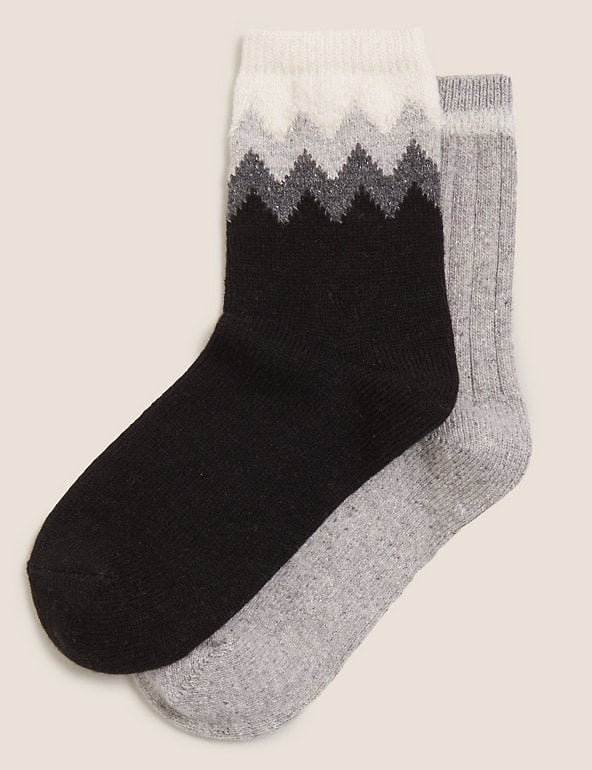 M&S 2pk Chevron Thermal Ankle High Socks